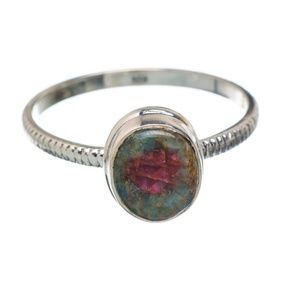 Ruby Fuchsite .925 Sterling Silver Ring - Size 9